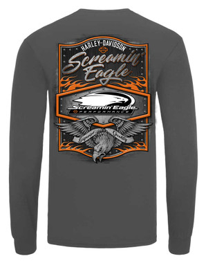 Harley-Davidson Mens Screamin' Eagle Rivet Long Sleeve Shirt, Gray HARLMT0292 - Wisconsin Harley-Davidson