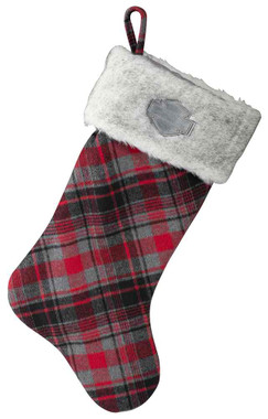 Harley-Davidson Winter Holiday Stocking - Red Plaid w/ Satin Lining HDX-99117 - Wisconsin Harley-Davidson