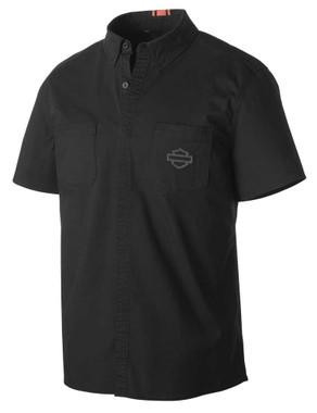 Harley-Davidson Men's Stretch Poplin Slim Fit Woven Shirt, Black 99151-19VM - Wisconsin Harley-Davidson