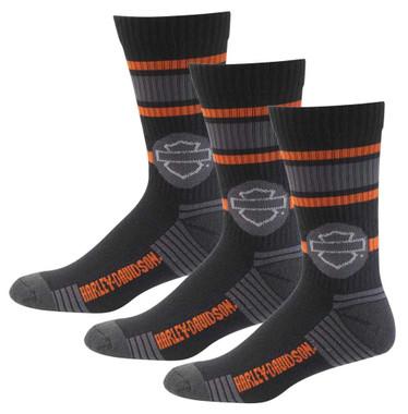 Harley-Davidson Wolverine Men's Retro Sport Riding Socks, 3 Pairs D99226970-001 - Wisconsin Harley-Davidson