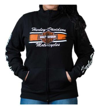 Harley-Davidson Women's Iconic Bar & Shield Zip-Up Track Jacket - Black - Wisconsin Harley-Davidson