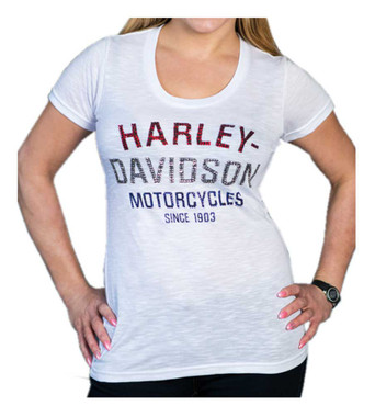 Harley-Davidson Women's Blinged Heritage Short Sleeve Scoop Neck Tee - White - Wisconsin Harley-Davidson