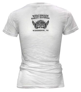 Harley-Davidson Women's Blinged Heritage Short Sleeve Scoop Neck Tee - White - Wisconsin Harley-Davidson