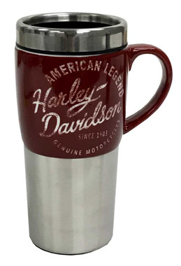Harley-Davidson Heritage Ceramic Stainless Steel Travel Cup, Silver & Burgundy - Wisconsin Harley-Davidson