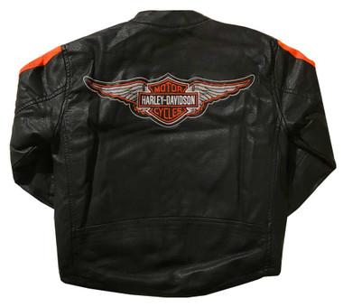 Harley-Davidson Little Boys' Striped Faux Leather Biker Jacket, Black 6084849 - Wisconsin Harley-Davidson