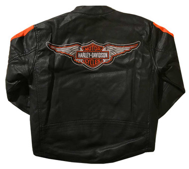 Harley-Davidson Big Boys' Striped Faux Leather Biker Jacket, Black 6094849 - Wisconsin Harley-Davidson