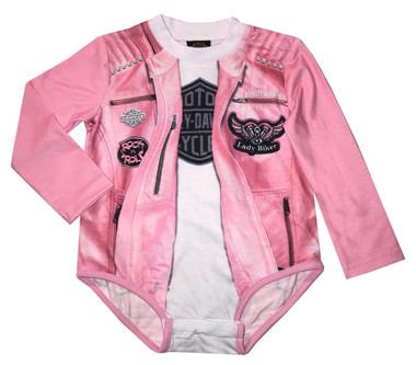 Harley-Davidson Baby Girls' Biker Knit Long Sleeve Infant Creeper, Pink 3014809 - Wisconsin Harley-Davidson