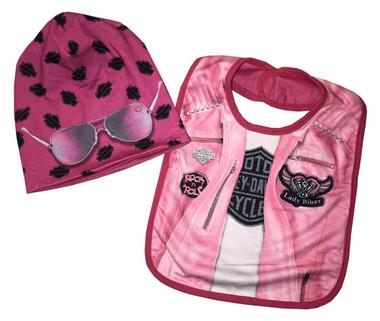 Harley-Davidson Baby Girls' Biker Knit Newborn Bib & Slouchy Beanie Pink 7004811 - Wisconsin Harley-Davidson