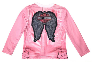Harley-Davidson Little Girls' Biker Knit Long Sleeve Tee, Pink 1034815 - Wisconsin Harley-Davidson