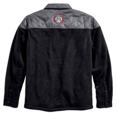 Harley-Davidson Men's Quilted Accent Fleece Shirt Jacket, Black 96592-19VM - Wisconsin Harley-Davidson