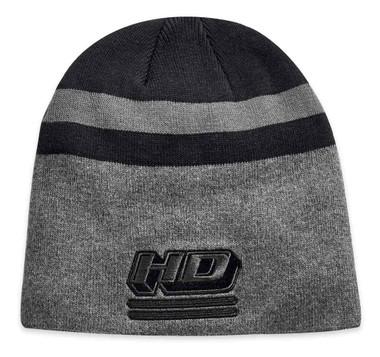 Harley-Davidson Men's Embroidered Knit Stripe Knit Beanie Hat, Black 97816-19VM - Wisconsin Harley-Davidson