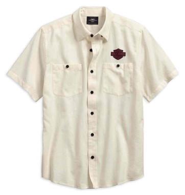 Harley-Davidson Men's Cotton Linen Printed Short Sleeve Shirt 96597-19VM - Wisconsin Harley-Davidson
