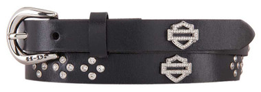 Harley-Davidson Women's Dazzler Genuine Leather Belt, Black HDWBT11451 - Wisconsin Harley-Davidson