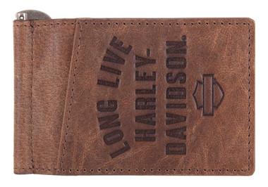 Harley-Davidson Men's Long Live Leather Money Clip Wallet HDMWA11553-BRN - Wisconsin Harley-Davidson