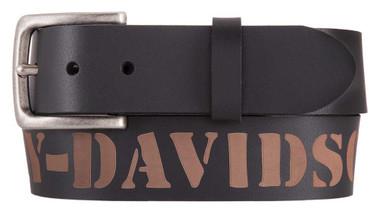 Harley-Davidson Men's Outlaw H-D Genuine Leather Belt, Black HDMBT11532 - Wisconsin Harley-Davidson