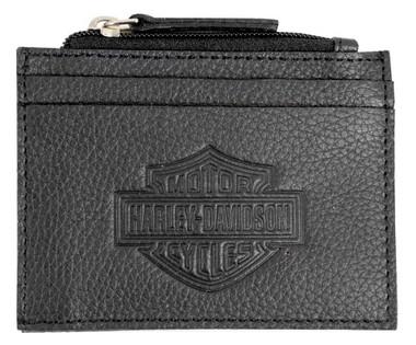 Harley-Davidson Men's B&S Embossed Zip Top Pocket Leather Wallet BSE6983-BLACK - Wisconsin Harley-Davidson