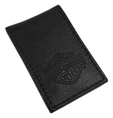 Harley-Davidson Men's B&S Embossed Leather Magnetic Money Clip MSB8385-BLACK - Wisconsin Harley-Davidson