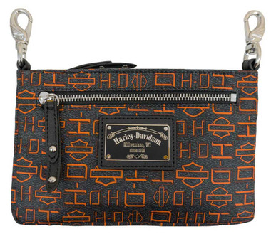 Harley-Davidson Women's Silky Gray Hip Bag w/ Detachable Strap SN5163S-ORGBLK - Wisconsin Harley-Davidson