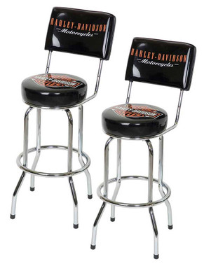 Harley-Davidson Bar & Shield Bar Stools With Back Rest HDL-12204 Set of 2 Stools - Wisconsin Harley-Davidson