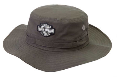 Harley-Davidson Men's Rubber Patch Boonie Cotton Twill Hat, Green HD-479-GRN - Wisconsin Harley-Davidson