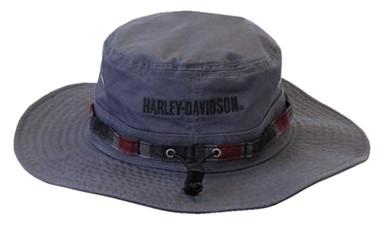 Harley-Davidson Men's Embroidered B&S Boonie Cotton Twill Hat, Gray HD-483 - Wisconsin Harley-Davidson