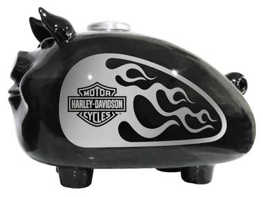 Harley-Davidson Silver Flames Large Ceramic Hog Bank - Black HDX-99138 - Wisconsin Harley-Davidson