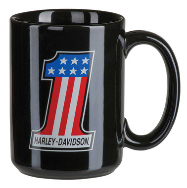 Harley-Davidson Core #1 Racing Coffee Mug, 15 oz. - Gloss Black HDX-98617 - Wisconsin Harley-Davidson