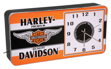 Harley-Davidson Winged Bar & Shield LED Vintage Ad Metal Clock HDL-16641 - Wisconsin Harley-Davidson