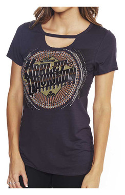 Harley-Davidson Women's Classic Quality Embellished Cut-Out Scoop Neck Tee - Wisconsin Harley-Davidson