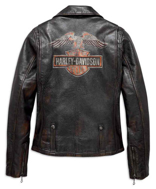 Harley-Davidson Women's Eagle Logo Distressed Leather Biker Jacket 98076-19VW - Wisconsin Harley-Davidson