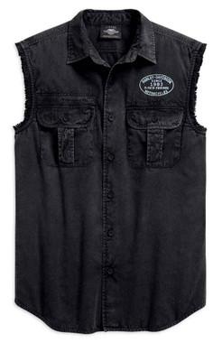 Harley-Davidson Men's Winged B&S Logo Sleeveless Blowout Tee, Black 99157-19VM - Wisconsin Harley-Davidson