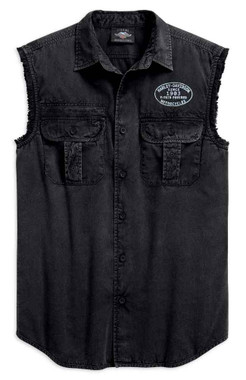 Harley-Davidson Men's Winged B&S Logo Sleeveless Blowout Tee, Black 99157-19VM - Wisconsin Harley-Davidson