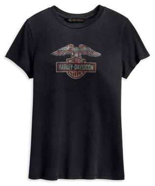 Harley-Davidson Women's Distressed Eagle Short Sleeve Tee, Black 99231-19VW - Wisconsin Harley-Davidson