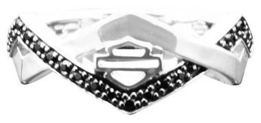 Harley-Davidson Women's Diamond Festival Ring w/ Black Crystal, Silver HDR0448 - Wisconsin Harley-Davidson