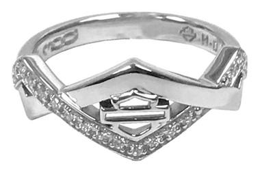 Harley-Davidson Women's Diamond Festival Ring w/ White Crystal, Silver HDR0447 - Wisconsin Harley-Davidson