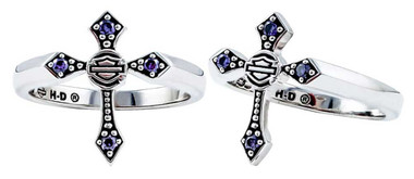 Harley-Davidson Women's Beaded Purple Stone Cross Ring, Sterling Silver HDR0407 - Wisconsin Harley-Davidson