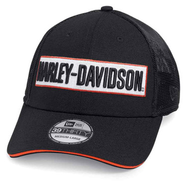 Harley-Davidson Men's Embroidered 39THIRTY Trucker Cap, Black 99471-19VM - Wisconsin Harley-Davidson