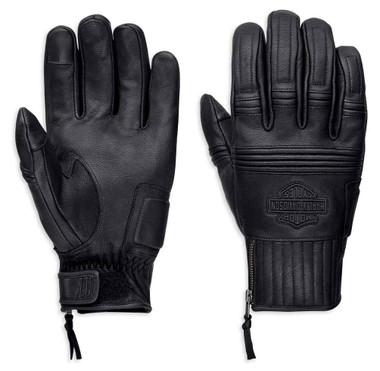 Harley-Davidson Men's Ogden Full-Finger Leather Gloves, Black 98348-19VM - Wisconsin Harley-Davidson