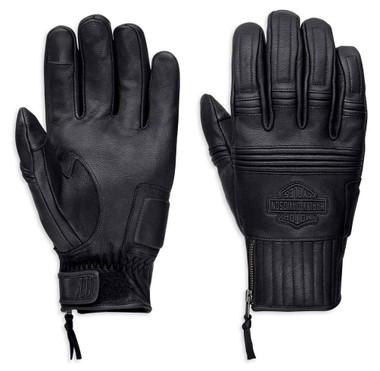 Harley-Davidson Men's Ogden Full-Finger Leather Gloves, Black 98348-19VM - Wisconsin Harley-Davidson