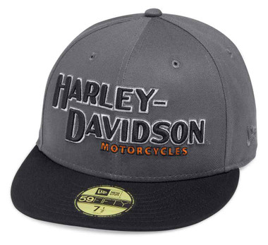 Harley-Davidson Men's Iron Block 59FIFTY Baseball Cap, Gray & Black 99470-19VM - Wisconsin Harley-Davidson