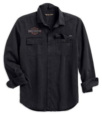 Harley-Davidson Men's Logo Patch Slim Fit Long Sleeve Shirt, Black 99282-19VM - Wisconsin Harley-Davidson