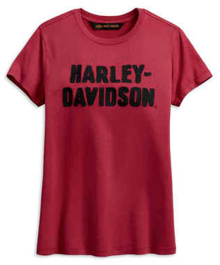 Harley-Davidson Women's Chain Stitched Short Sleeve Tee, Red 99002-19VW - Wisconsin Harley-Davidson