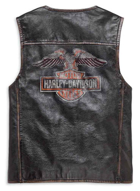 Harley-Davidson Men's Eagle Distressed Slim Fit Leather Vest, Black 98078-19VM - Wisconsin Harley-Davidson