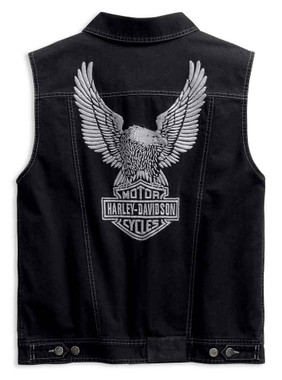 Harley-Davidson Men's Embossed Upright Eagle Denim Vest - Black 98415-19VM - Wisconsin Harley-Davidson