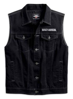 Harley-Davidson Men's Embossed Upright Eagle Denim Vest - Black 98415-19VM - Wisconsin Harley-Davidson