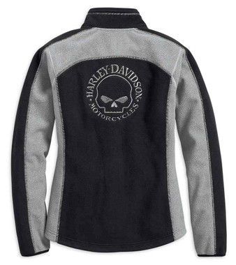 Harley-Davidson Women's Skull Windproof Fleece Jacket, Black & Gray 98407-19VW - Wisconsin Harley-Davidson