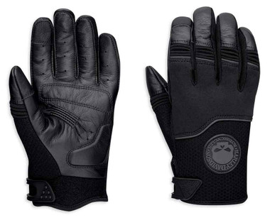 Harley-Davidson Men's Newhall Mixed Media Full-Finger Gloves, Black 98385-19VM - Wisconsin Harley-Davidson
