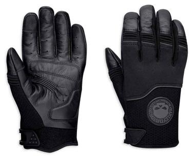 Harley-Davidson Men's Newhall Mixed Media Full-Finger Gloves, Black 98385-19VM - Wisconsin Harley-Davidson