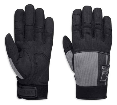 Harley-Davidson Men's Stowell Mesh Full-Finger Gloves, Black & Gray 98384-19VM - Wisconsin Harley-Davidson