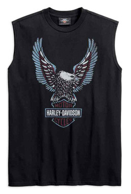 Harley-Davidson Men's Distressed Upright Eagle Sleeveless Tee - Black 99267-19VM - Wisconsin Harley-Davidson